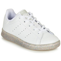 Shoes Girl Low top trainers adidas Originals STAN SMITH C White / Glitter