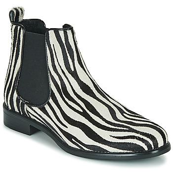 Shoes Women Mid boots Betty London HUGUETTE Black / White / Zebra
