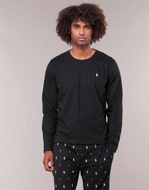 material Men Long sleeved shirts Polo Ralph Lauren L/S CREW-CREW-SLEEP TOP Black