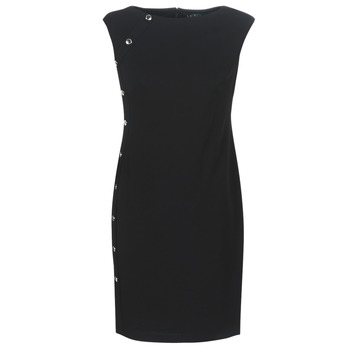 material Women Short Dresses Lauren Ralph Lauren BUTTON-TRIM CREPE DRESS Black