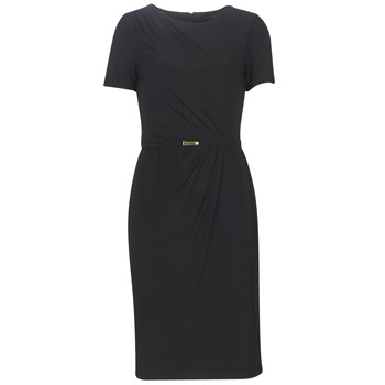material Women Long Dresses Lauren Ralph Lauren BELTED SHORT SLEEVE DRESS Black