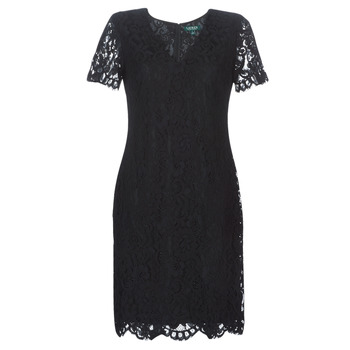 material Women Short Dresses Lauren Ralph Lauren SCALLOPED LACE DRESS Black