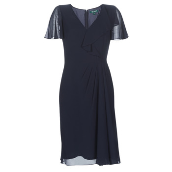material Women Long Dresses Lauren Ralph Lauren CUTLER CAP SLEEVE DAY DRESS Marine
