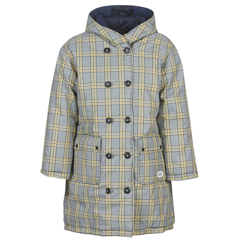 material Women Duffel coats Maison Scotch REVERSIBLE DOUBLE BREASTED JACKET IN CHECK AND SOLID Marine