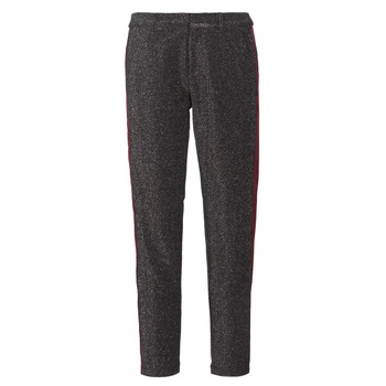 material Women 5-pocket trousers Maison Scotch TAPERED LUREX PANTS WITH VELVET SIDE PANEL Grey