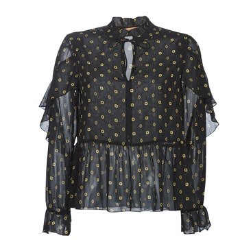 material Women Blouses Maison Scotch SHEER PRINTED TOP WITH RUFFLES Black