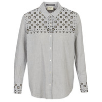 material Women Shirts Maison Scotch BUTTON UP SHIRT WITH BANDANA PRINT Grey