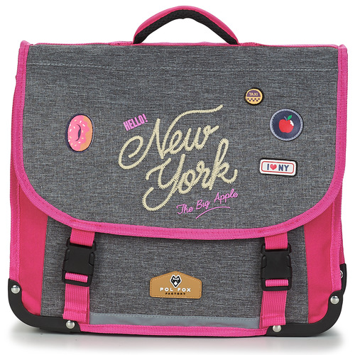 Bags Girl Satchels Back To School POL FOX NEW YORK CARTABLE 38 CM Grey / Pink