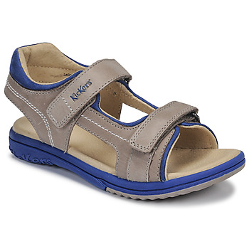 Shoes Boy Sandals Kickers PLATINO Grey / Blue