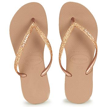 Shoes Women Flip flops Havaianas SLIM GLITTER Pink / Gold