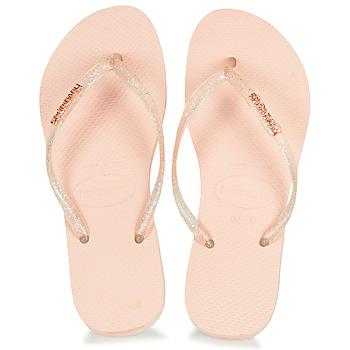 Shoes Women Flip flops Havaianas SLIM LOGO METALLIC Pink