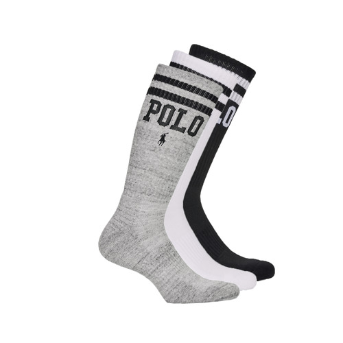 Accessorie Men Socks Polo Ralph Lauren 3PK DBLE BAR-CREW-3 PACK White / Grey / Black