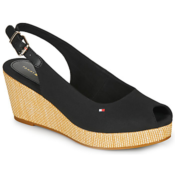 Shoes Women Sandals Tommy Hilfiger ICONIC ELBA SLING BACK WEDGE Black