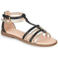 Shoes Girl Sandals Geox J SANDAL KARLY GIRL Black / Gold