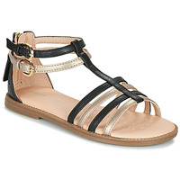 Shoes Girl Sandals Geox J SANDAL KARLY GIRL Black / Gold