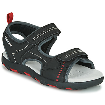 Shoes Boy Sports sandals Geox JR SANDAL PIANETA Black / Red