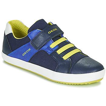 Shoes Boy Low top trainers Geox J GISLI BOY Marine / Yellow