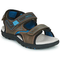 Shoes Boy Sports sandals Geox JR SANDAL STRADA Brown / Blue