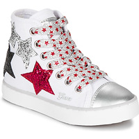 Shoes Girl High top trainers Geox JR CIAK GIRL White / Red / Black