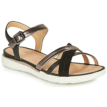 Shoes Women Sandals Geox D SANDAL HIVER Black / Gold