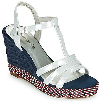Shoes Women Sandals Tamaris CYNARA White / Marine / Red