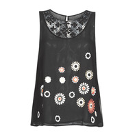 material Women Tops / Sleeveless T-shirts Desigual TEBAS Black