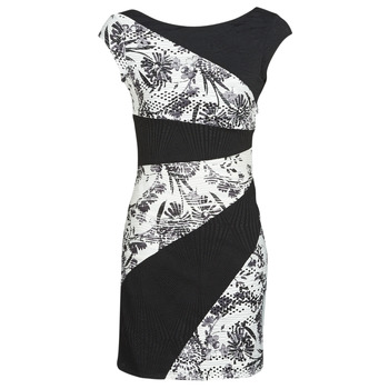 material Women Short Dresses Desigual DETROIT Black / White