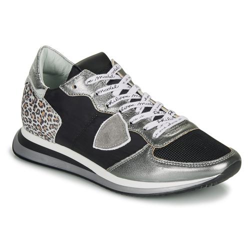 Shoes Women Low top trainers Philippe Model TROPEZ X Black / Silver