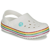 Shoes Girl Clogs Crocs CROCBAND RAINBOW GLITTER CLG White