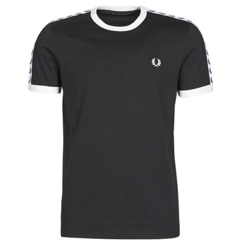 material Men short-sleeved t-shirts Fred Perry TAPED RINGER T-SHIRT Black