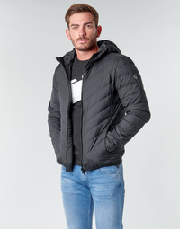 material Men Duffel coats Emporio Armani EA7 TRAIN CORE SHIELD M DOWN LIGHT HOODIE JACKET Black