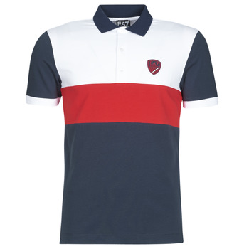 material Men short-sleeved polo shirts Emporio Armani EA7 SEA WORLD ST TROPEZ Marine / White / Red