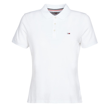 material Women short-sleeved polo shirts Tommy Jeans TJW TOMMY CLASSICS POLO White
