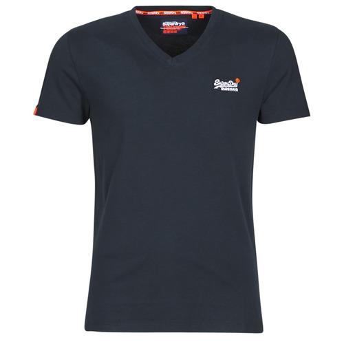 material Men short-sleeved t-shirts Superdry ORANGE LABEL VNTGE EMB VEE TEE Eclipse / Navy