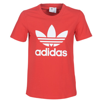 material Women short-sleeved t-shirts adidas Originals TREFOIL TEE Red