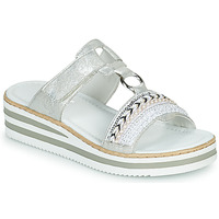 Shoes Women Mules Rieker CLOZ Silver / White