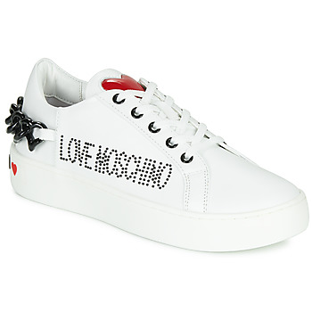 Shoes Women Low top trainers Love Moschino CHAIN HEART White