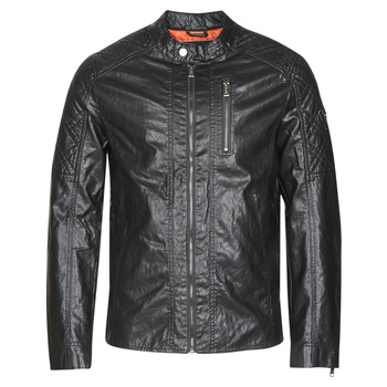 material Men Leather jackets / Imitation leather Guess QUILTED ECO LEATHER JACKET Black