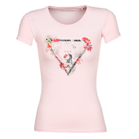 material Women short-sleeved t-shirts Guess SS CN LORY TEE Pink