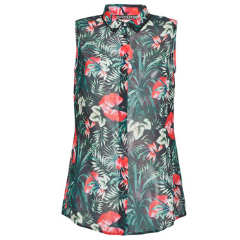 material Women Blouses Guess SL CLOUIS SHIRT Black / Green / Red