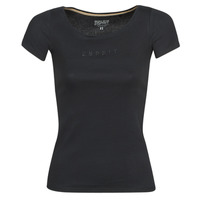 material Women short-sleeved t-shirts Esprit T-Shirts logo Black