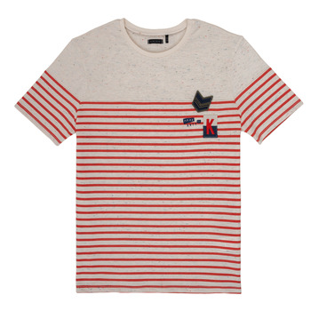 material Boy short-sleeved t-shirts Ikks PATRICK White / Red