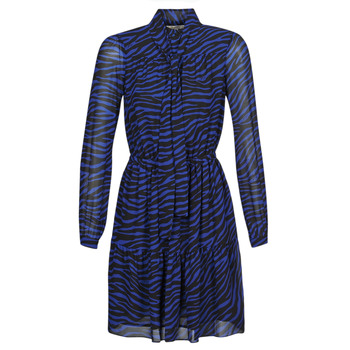 material Women Short Dresses MICHAEL Michael Kors BOLD BENGAL TIER DRS Blue / Black