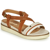 Shoes Women Sandals Refresh LOCO Cognac / White