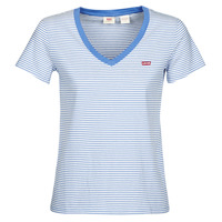 material Women short-sleeved t-shirts Levi's PERFECT VNECK White / Blue