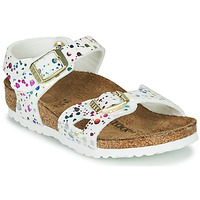Shoes Girl Sandals Birkenstock RIO White / Multicolour
