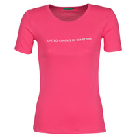 material Women short-sleeved t-shirts Benetton  Pink
