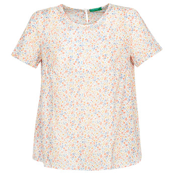 material Women Blouses Benetton DANIEL White / Multicolour
