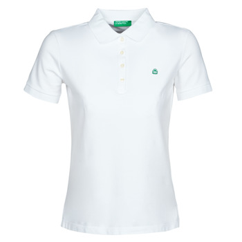 material Women short-sleeved polo shirts Benetton SANDRINE White