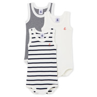 material Children Sleepsuits Petit Bateau 53729 White / Blue